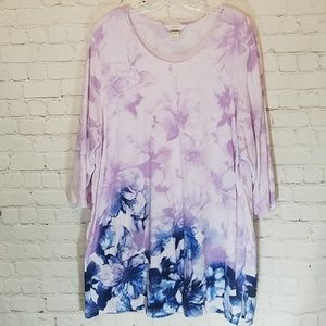Watercolor floral tunic top